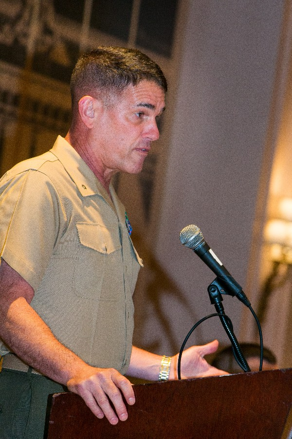 Brig. Gen. Kevin Nally, USMC, director of Command, Control, Communications and Computers, and chief information officer, speaks at the chapter's May luncheon. Gen. Nally retires in July.