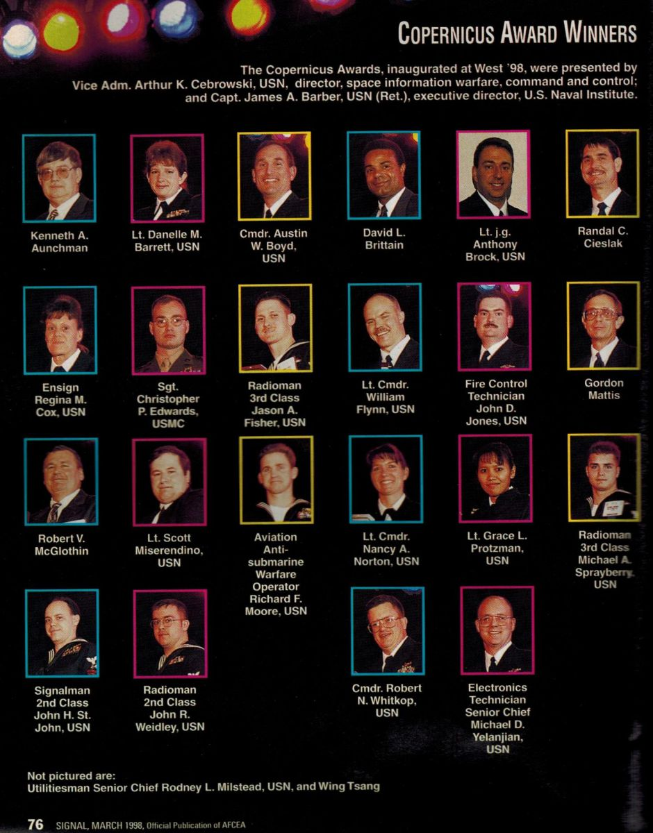 Headshots of the 1998 Copernicus Award Winners